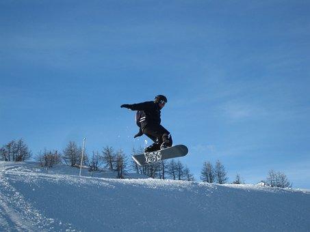 Snowboard, Saut, Neige, Tour