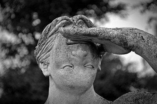 Estátua, Face, Errado, Torcida, Homem