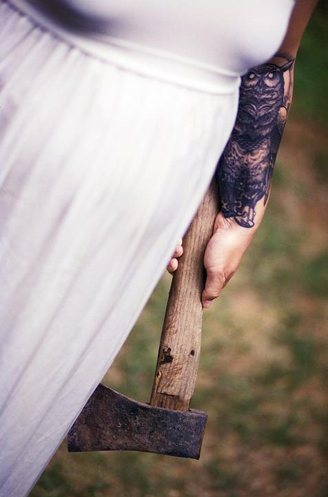 Biała Sukienka Topór Tatuaż Darmowe Zdjęcie Na Pixabay
