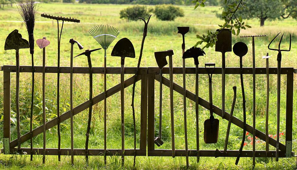 Gardening Tools, Old, Used, Worn, Nostalgic, Fence