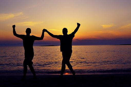 Silhouette, Seaside, Seascape, Dancing