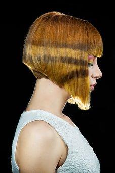 髪サロン, モデル, 髪の毛, 色, トリック, ファッション, 肖像画, 顔