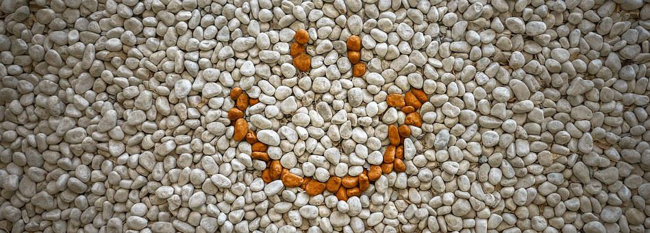 Smile, Stone, Gravel, White, Pattern
