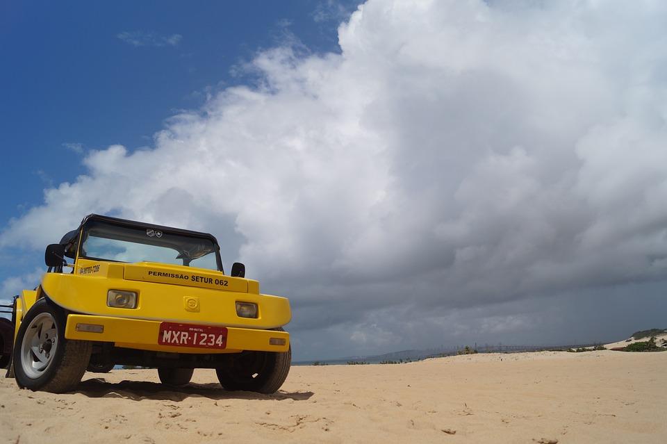 Buggy, Deserto, Mare, Dune, Nubi, Brasile, Natal, Tour