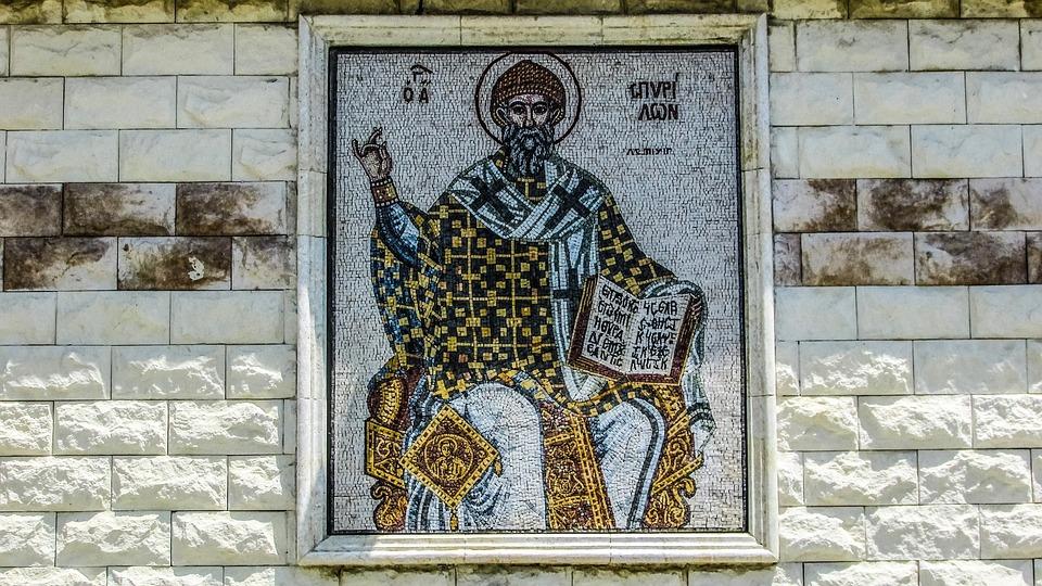 Cyprus, Aradippou, Ayios Spyridon, Mosaic, Church