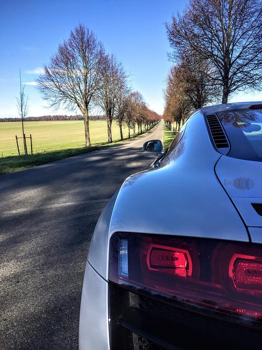 Audi R8 V10 Sports Car Sun Sky Landscape Road