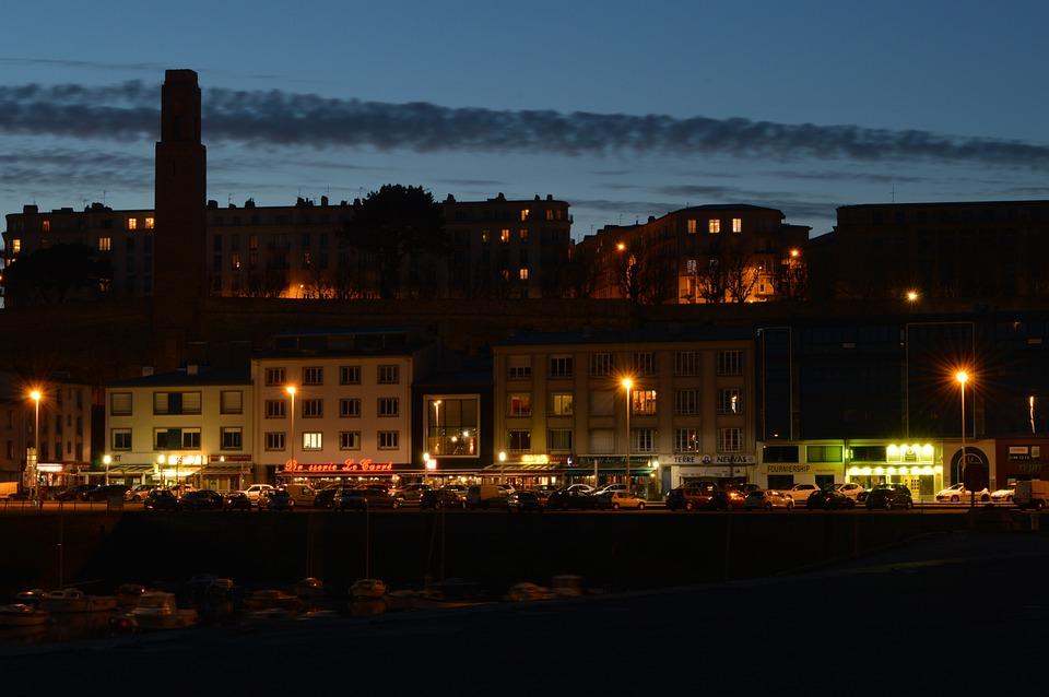 City, Noc, Wharf, Portu, Bistro, Oświetlenie, Brześć
