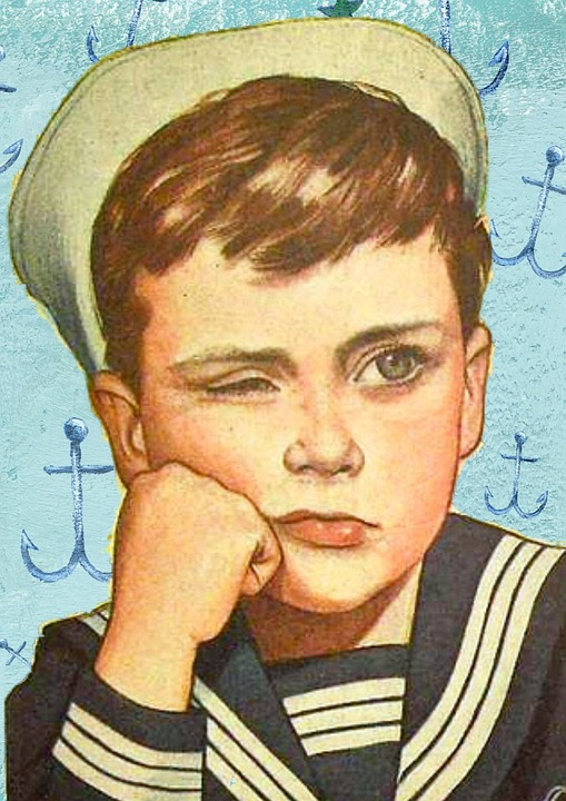 Retro, Boy, Sailor, Outfit, Unhappy, Angry, People, Old
