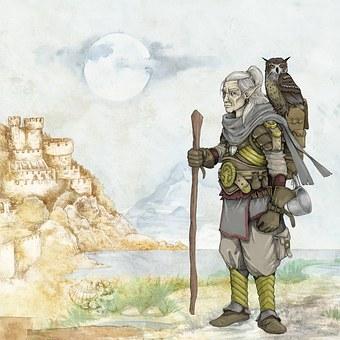 Fantasy, Fairytale, Elve, Old Man, Owl
