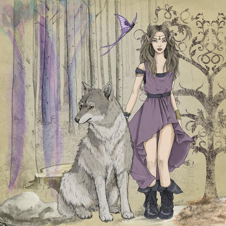Fantasie, Fairytale, Elve, Meisje, Jurk, Bossen, Donker