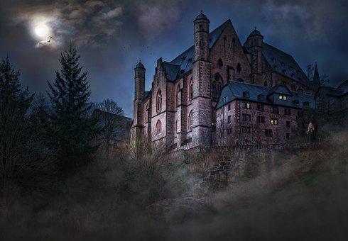 Castle Mystical Mood Night Sky