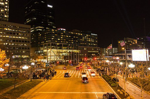 Baltimore, Night, Traffic, Downtown