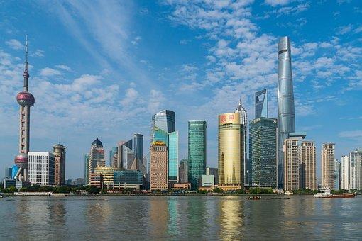 上海, 堤防, 中国, 市, アーキテクチャ, 浦東, 超高層ビル, 黄浦