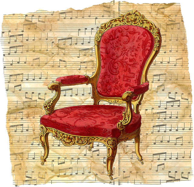 Free Illustration Vintage Chair Red Music Sheet Free