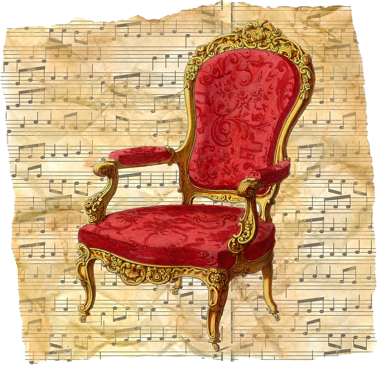 vintage chair. Vintage Chair Red Music Sheet Old Historical