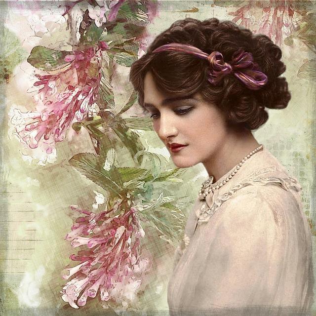 Free Illustration Vintage, Lady, Digital Art, Floral -4887