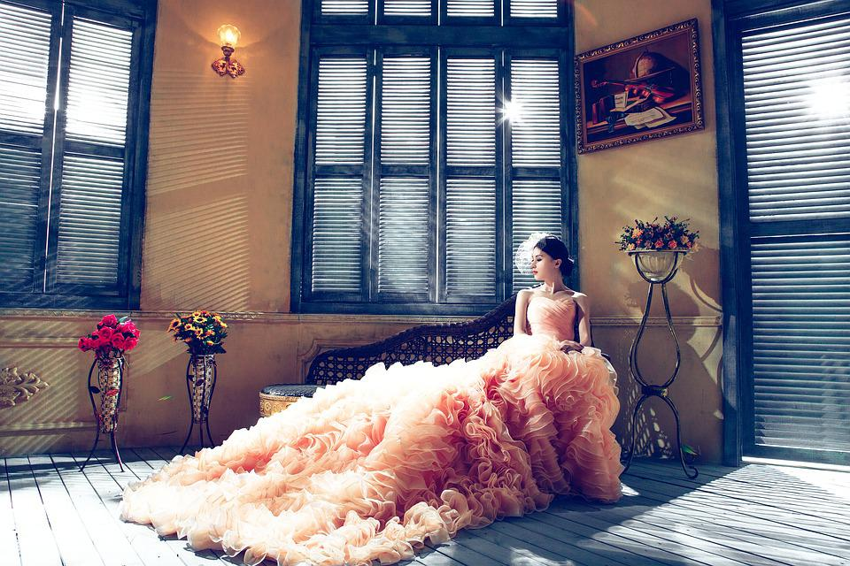 Wedding Dresses, Bride, Pink, Elegant, Extravagant
