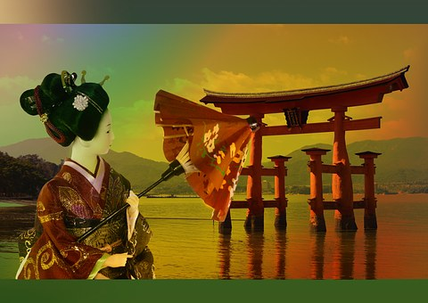 抽象的な, 背景, モチーフ, 壁紙, アジア, 日本, 神社, 文化, 女性