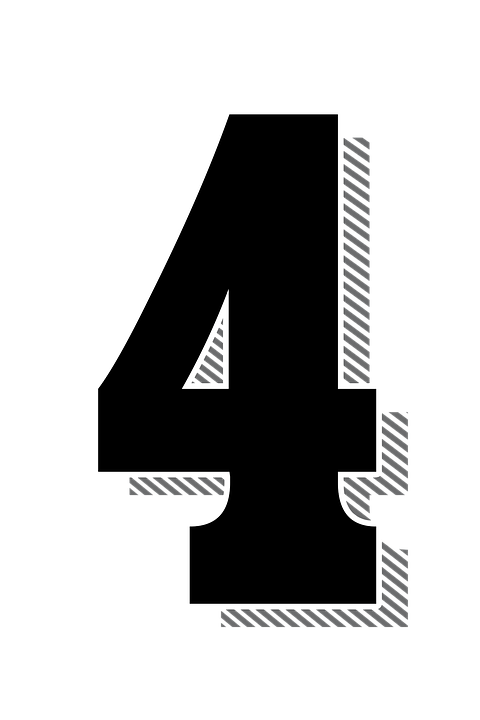numbers four 4 drop shadow typography typographic