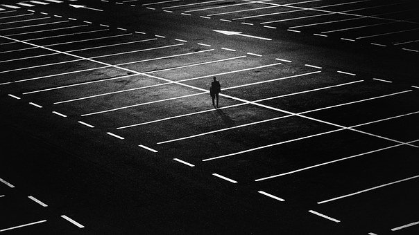 Parking Space, Man, City, Person, Alone