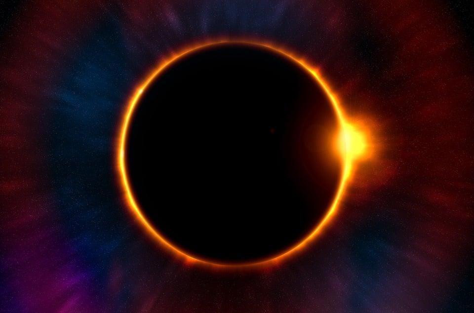Eclipse, Crepúsculo, Luna, Sol, Planeta, Sistema Solar