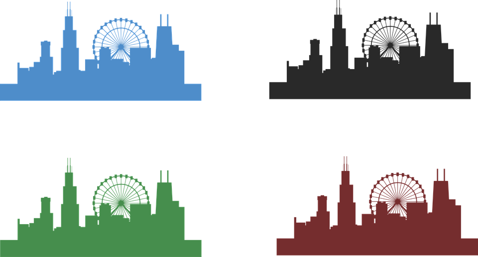 chicago skyline city architecture free vector graphic on pixabay