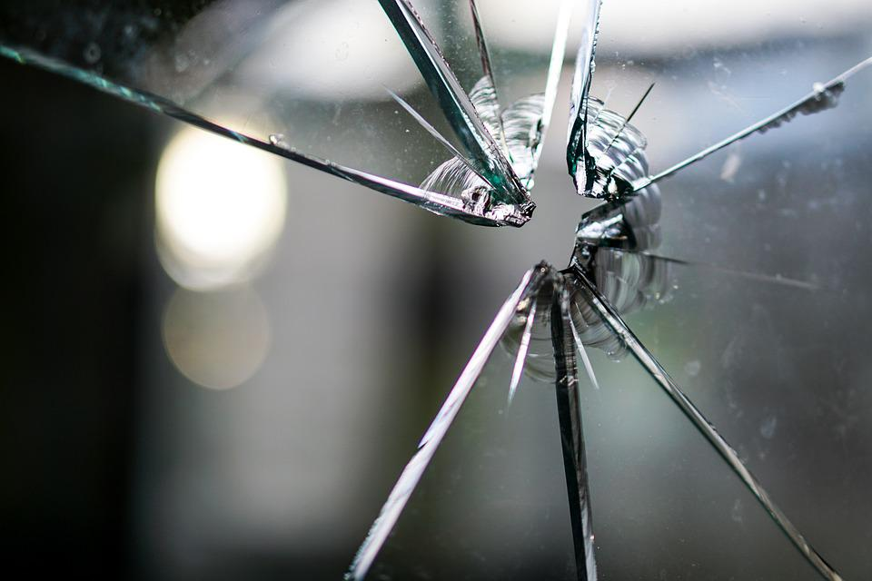 Glass, Broken, Fragmented, Hole, Crack, Disc, Window