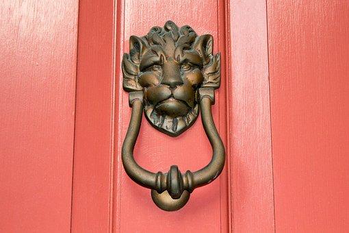 ドアノッカー, ライオン, 南, チャールストン, ドア, ノッカー, 真鍮