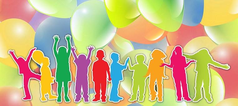 Children Silhouette Cheers Balloon Ab