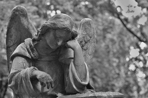 Cimetière, Statue, Pierre, Ange, Mains