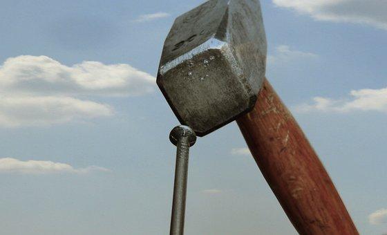 Hammer, Nail, Sky, Diy, Clouds, Metal