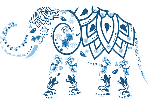 象, 装飾, 動物, インド, 哺乳動物, シンボル, 華やかです, タトゥー
