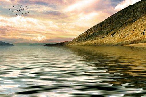 gunung danau pemandangan alam