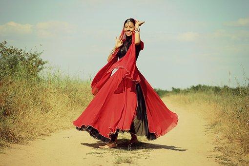 Cô Gái, Ấn Độ, Khiêu Vũ, Màu Đỏ