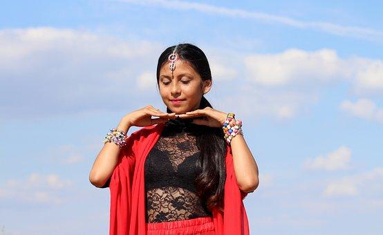 Cô Bé, Ấn Độ, Nhảy, Màu Đỏ, Phương Đông