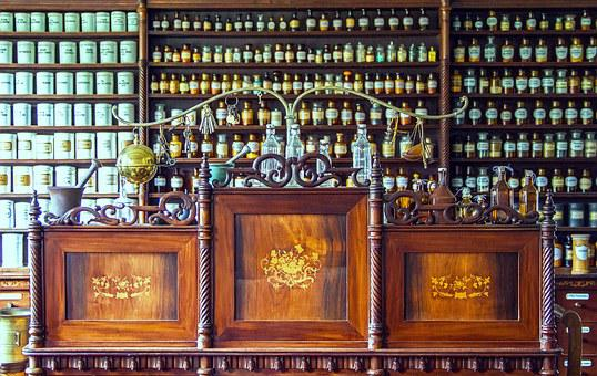 薬局, カウンター, 医療, 歴史的薬局カウンター, 木の机, ガラスの瓶