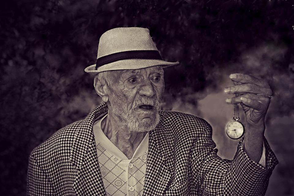 Vecchio, Uomo, Tempo, Orologio, Paura, Vecchiaia