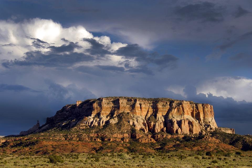 Pustynia, Mesa, Nowy Meksyk, Usa, Burzliwy, Krajobraz