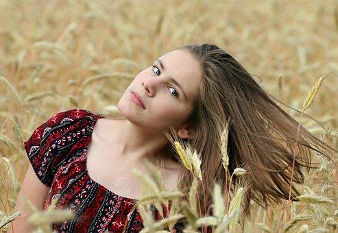 Girl, Field, Wheat, Hair