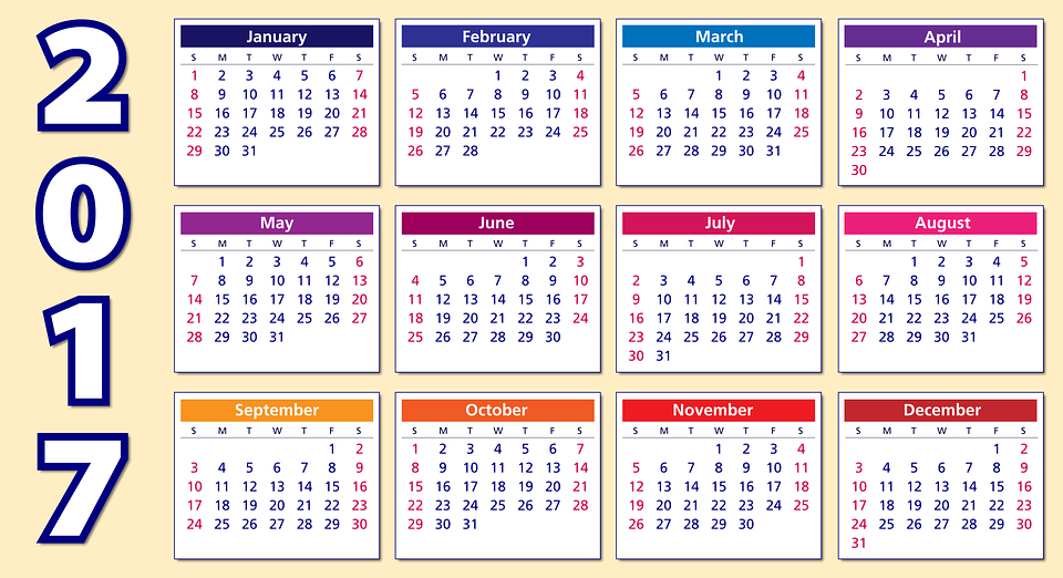 Free vector graphic: Calendar, 2017, Weeks, Months, Year ...