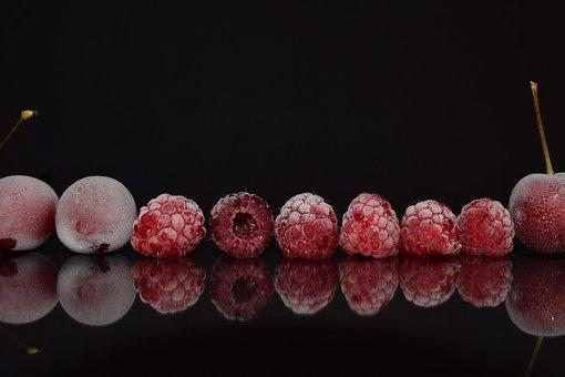 Frambuesas, Cerezas, Cerrar, Rojo