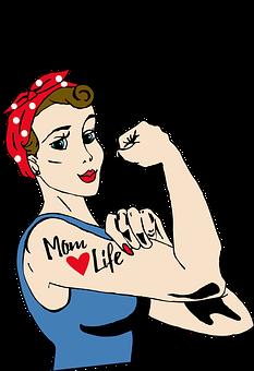 Mom, Tattoo, Rosie, Riveter, Vintage