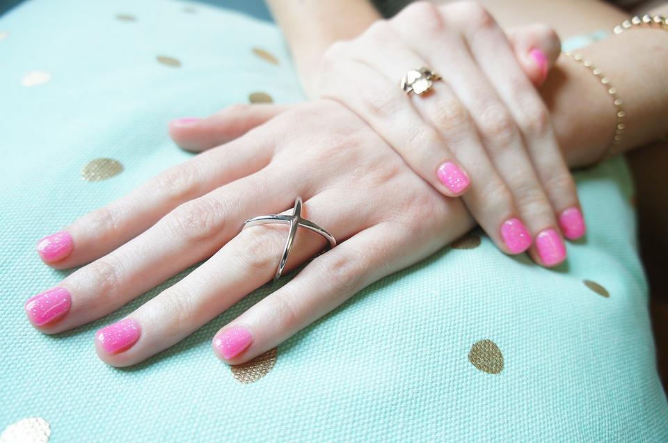 Rings Hand Pink Nail Polish
