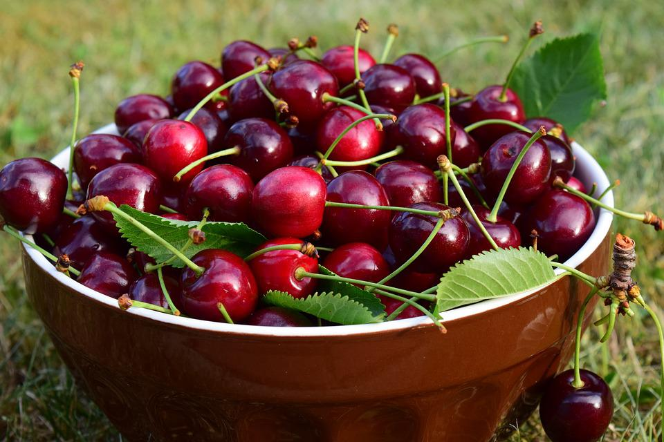 Ciliegie, Ciotola, Frutta, Delizioso, Rosso, Dolce