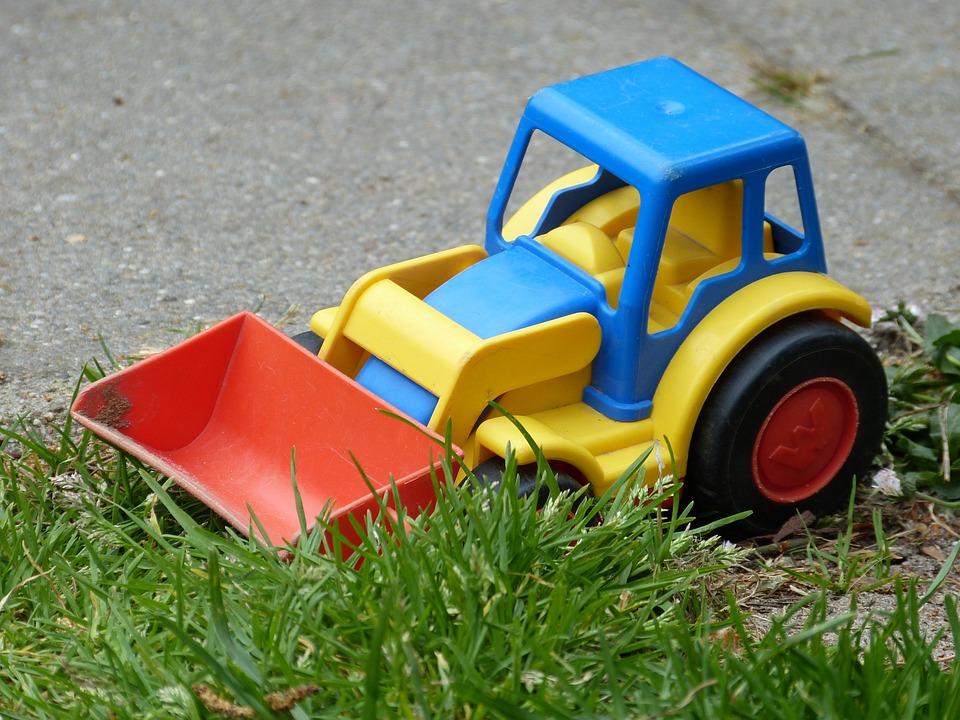 子供, おもちゃ, 前部積込み機, プラスチック, 砂のおもちゃ