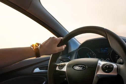Car, Driving, Man, Wheel, Hand, Watch