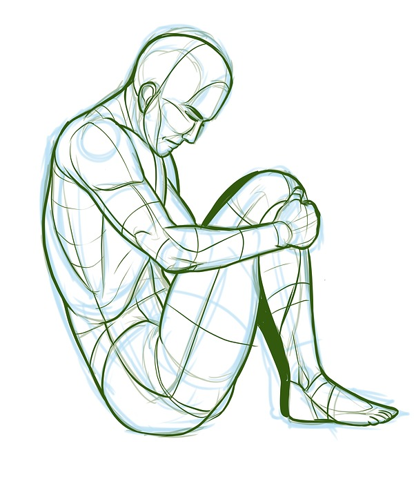 It is a picture of Tactueux Male Sitting Poses Drawing