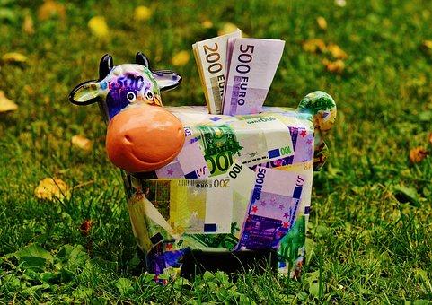 貯金箱, お金, 牛, ドル紙幣, 500 ユーロ, ピグレット, 保存し