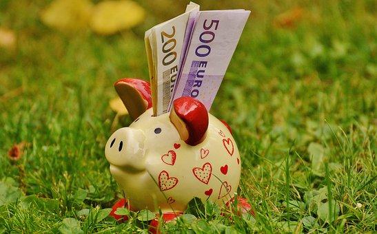 貯金箱, お金, ドル紙幣, 500 ユーロ, 200 ユーロ, ピグレット