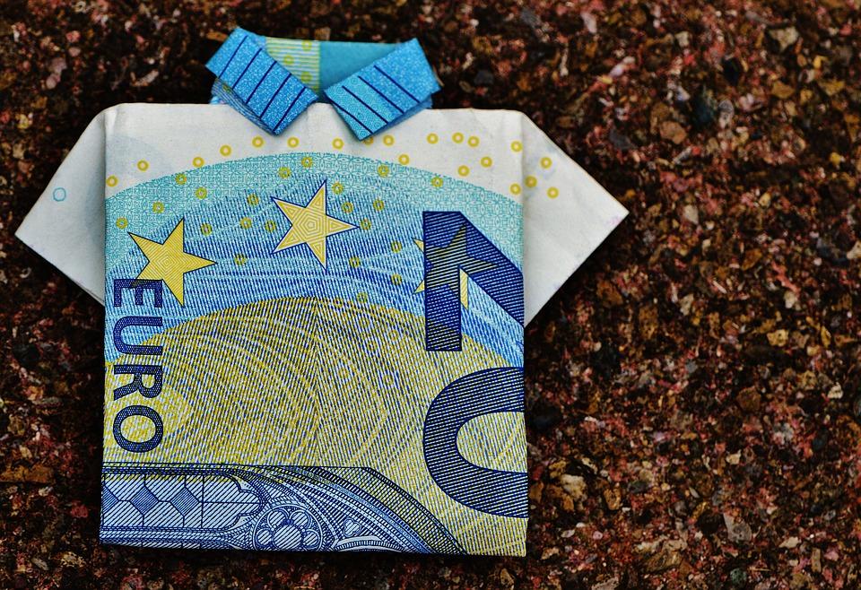 最后衬衫, 美元的钞票, 20 欧元, 折叠, 礼品, 钱, 货币, 欧元, 现金及现金等价物, 储备金